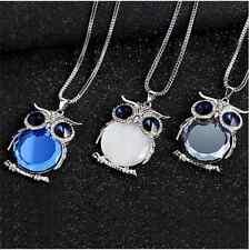 Women Owl Rhinestone Crystal Jewelry Pendant Animal Long Sweater Chain Necklace