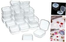 24 Packs Small Clear Plastic Beads Storage Containers Box with Hinged Lid for St