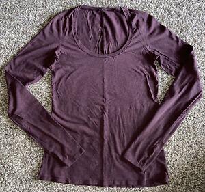 LULULEMON Womens FALL Pima COTTON Long SLEEVED Athletic TOP T-Shirt 6 MEDIUM LN!