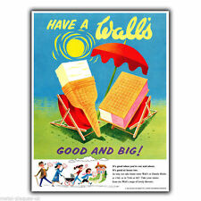 WALL'S ICE CREAM Vintage Retro Advert METAL WALL SIGN PLAQUE poster print