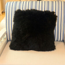 Single-Sided Black Australia Sheepskin Pillow Sofa Cushion Cover Fur pillowcase