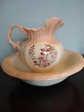 Vintage Water Pitcher and Basin.Peach/Rose/Pink/Coral/White. Floral pattern.