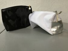 Two Large Cosmetic Jewelry Bags B/W & Silver/White