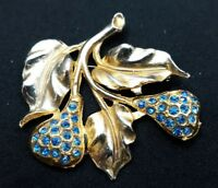 Vintag Brooch Lapel Pin Goldtone Pears Blue Crystal Stones Costume Jewelry 5369F
