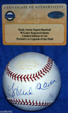 ATLANTA MILWAUKEE BRAVES BREWER HENRY HANK AARON AUTOGRAPHED STEINER LE BASEBALL