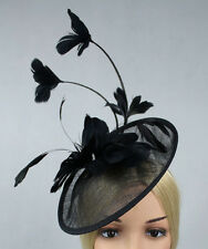 STUNNING BLACK SINAMAY FASCINATOR WITH MATCHING FEATHERS/HEADBAND SPRING RACING