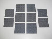 Lego ® Lot x10 Plaques Carrés 4x4 Plate Square DK Stone Grey ref 3031 NEW