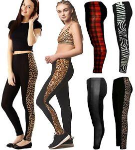 New Women Ladies Side Panel Leopard Print Stretchy Leggings Trouser Pant UK 8-26