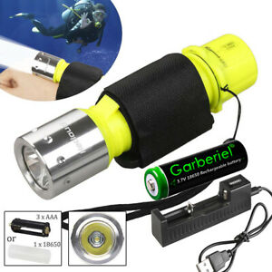 10m Underwater LED Flashlight Scuba Diver Diving Torch Lamp Dive Light w/ Batter
