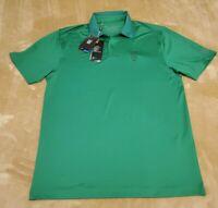NEW Under Armour Performance mens polo shirt size MEDIUM green HP logo