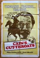 Cain's Cutthroat (1971) 1 Sheet Movie Poster 27x41 Vintage Western Grindhouse