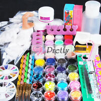 UK Stock Pro Acrylic Powder Glitter Nail Art Primer Block False Tips Kit Set