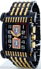 Aqua Master Stainless Steel Gold Duo Tone Men's Diamond Black Dial Watch W#330