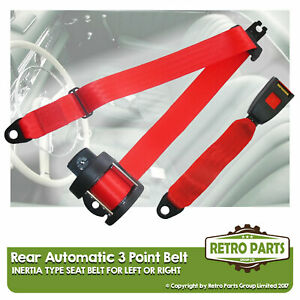 Rear Automatic Seat Belt For Autounion DKW AU 1000 Berlina 1957-1965 Red