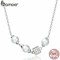 BAMOER Women Necklace S925 Sterling silver pearl Pendant charm With CZ Jewelry