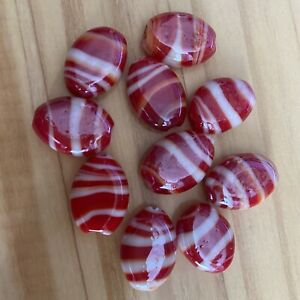 10 RED & WHITE  FLAT OVAL SWIRL LAMPWORK Glass Beads 18mm Jewelry making DIY