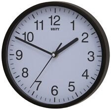 "SILENT SWEEP WALL CLOCK BY UNITY RADCLIFFE CLOCK IN BLACK AND WHITE 8"" 20CM"