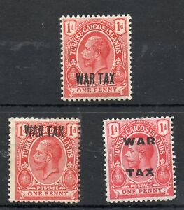 3 X TURKS & CAICOS STAMPS KING GEORGE V 1d WAR TAX STAMP .ONE MNH TWO LMM
