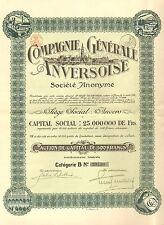 Compagnie Generale Anversoise SA, accion, 1920 (Siege: Anvers, cupones)