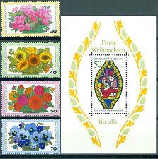 Bund 904-907 Wohlfahrt 1976: Gartenblumen + Block 13 Weihnachten **