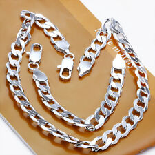 925Sterling Silver 10MM Flat Sideway Strong Men Chain Necklace Bracelet Set S097