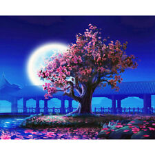 Paint By Numbers DIY Kit acrylic Painting Picture Art - Cherry Blossom Tree Moon