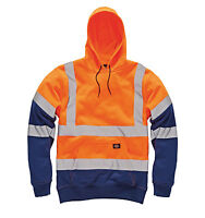 NEW Dickies Hi-Vis High Viz Safety Hoody Hoodie Hooded Kangaroo Pocket Top S-4XL