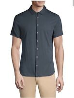 John Varvatos Size XL Short Sleeve Button Front Shirt Pima Cotton NWT Msrp $168.