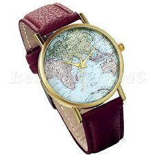 Damen Herren Armbanduhr Weltkarte Analog Quarz Uhr mit Leder Armband braun Neu