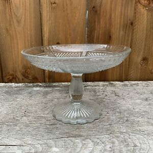 Vintage Pressed Glass Christmas Cake Stand Bonbon Dish Fruit Bowl