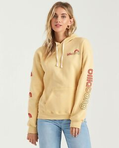 Billabong Womens Make Me Mellow Hoodie Sweatshirt Yellow Size M