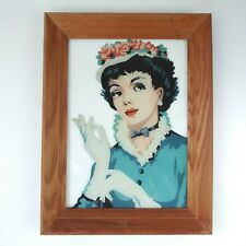 Vintage 1950s Paint By Number Reverse Glass Painting MCM Young Lady Couture