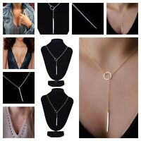 Womens Silver/Gold Circle Lariat Drop Charm Bar Pendant Necklace Jewelry Layer