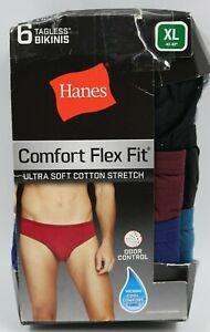 Hanes Mens 6 Pack Multi Color Tagless Boxers Bikinis Underwear Size XL NEW