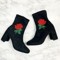 New Charlotte Russe Black Rose Embroidered Suede Sock Boots Block Heel Size 6