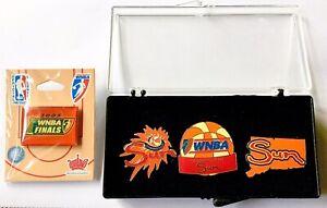 2005 CONNECTICUT SUN WNBA BASKETBALL FINALS & TEAM LOGO SET OF (4) LAPEL PINS