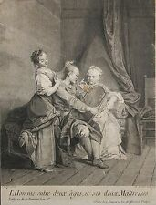 Gravure XVIIIe. L'homme entre 2 âges. Engraving, kupferstich, incisione. 18th.