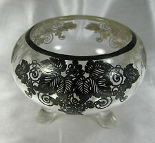 ANTIQUE ELEGANT STERLING SILVER INLAY GLASS CANDY BOWL