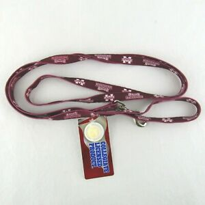 Mississippi State Bulldogs Pet Dog Leash 1/2 In x 6 Ft New Tag Logo Maroon Red