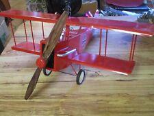 """Rare World War I Style Bi-Plane/Fan """"Red Baron"""" by Scott Fan Co. 29"""" Wingspan"""