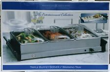 Buffet Server Food Warmer Stainless Steel 2.5 Quart 3 Tray Chafing Dish Tabletop