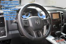 For 2014 2015 2016 Ram 1500 2500 3500 Laramie-Leather Steering Wheel Cover,Black