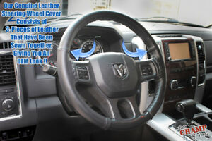 For 2014 2015 2016 Ram 1500 2500 3500 Laramie-Leather Steering Wheel Cover,Black