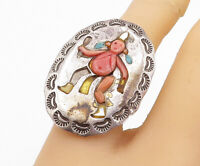 NAVAJO 925 Sterling Silver - Vintage Coral Person Cocktail Ring Sz 7 - RG3867
