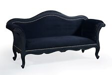 Large Mahogany Gothic Black French Ornate Sofa Day Bed Chaise Longue 3 Seater