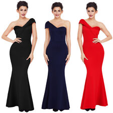 Sexy One Shoulder Ponti Gown Bridal Wedding Formal Prom Party Long Evening Dress
