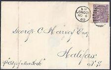 Uk Gb 1868 Canada London To Halifax Nova Scotia Franked 6 Pence Sg 108 On Folded