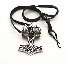Viking Mjölnir Marteau De Thor Tête Mort Pendentif Collier Étain Ras Du Cou Cuir