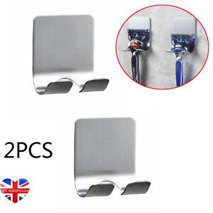 2Pcs Shaver Stainless Steel Wall Mounted Adhesive Holder Razor Hook Rack Storage