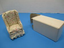 Vintage Dollhouse Furniture White Floral Living Room chair VS31